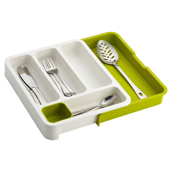 Green & White Expandable DrawerStore™ Cutlery Tray