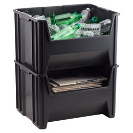 Black Stackable Recycle Bin The