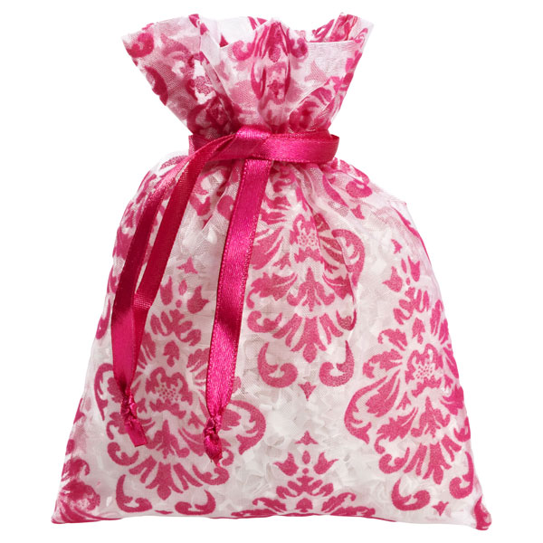 Flocked Damask Sack Pink