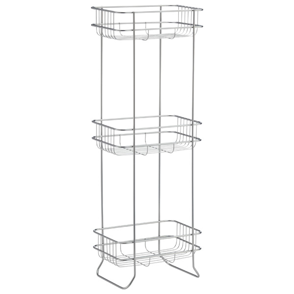 3-Shelf Storage Tower Satin Nickel