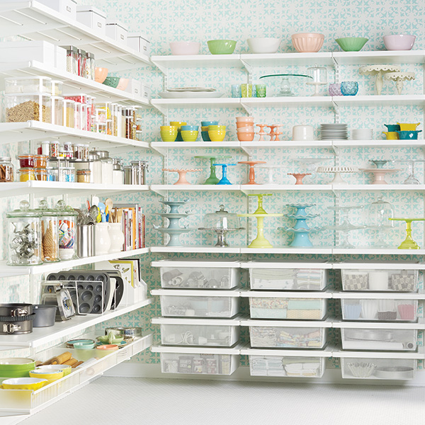 https www.containerstore.com tip roomgarage garage-shelving-ideas - White elfa décor Baker s Pantry