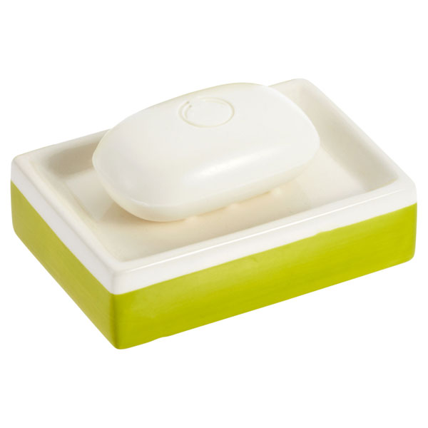 Green Stripe Ceramic Soap Dish Green & Cream