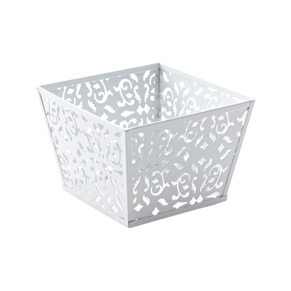 Extra Small Brocade Bin White