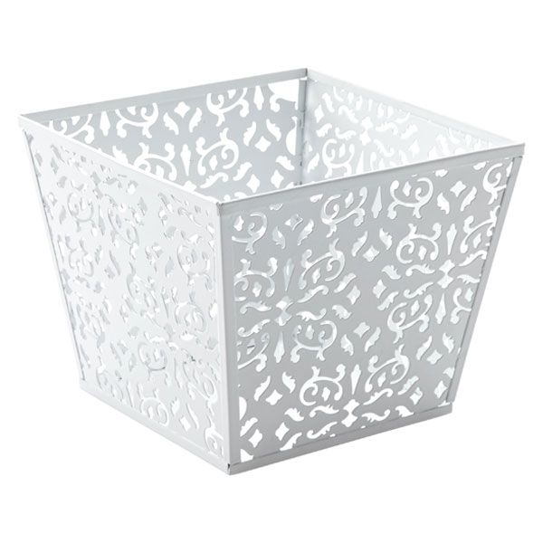 Small Brocade Bin White