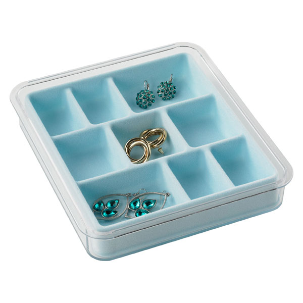 9-Section Stacking Tray Light Blue
