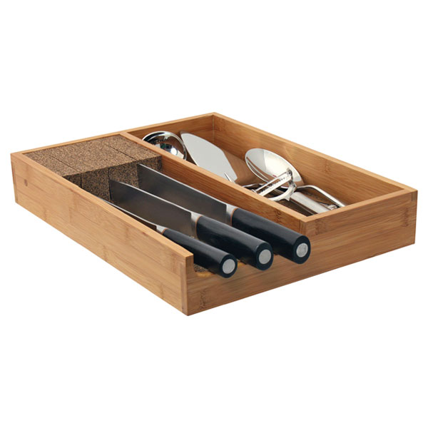 Knife Dock™ w/ Utensil Holder Bamboo