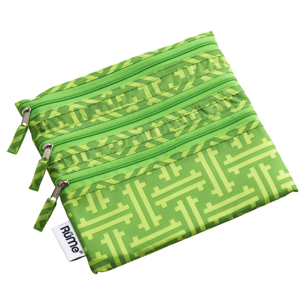 Baggie All Zippered Pouch Green Greek Key