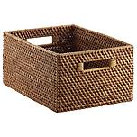 Large Rattan Bin w/Handles Copper