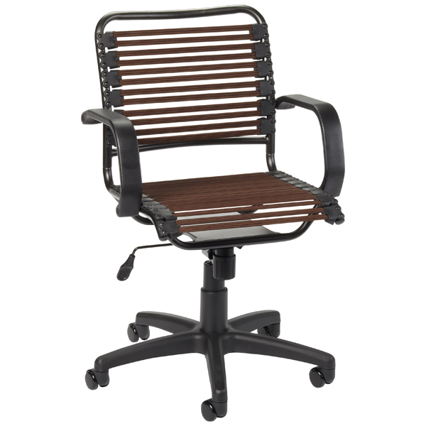 chocolate flat bungee office chair with arms | the container store
