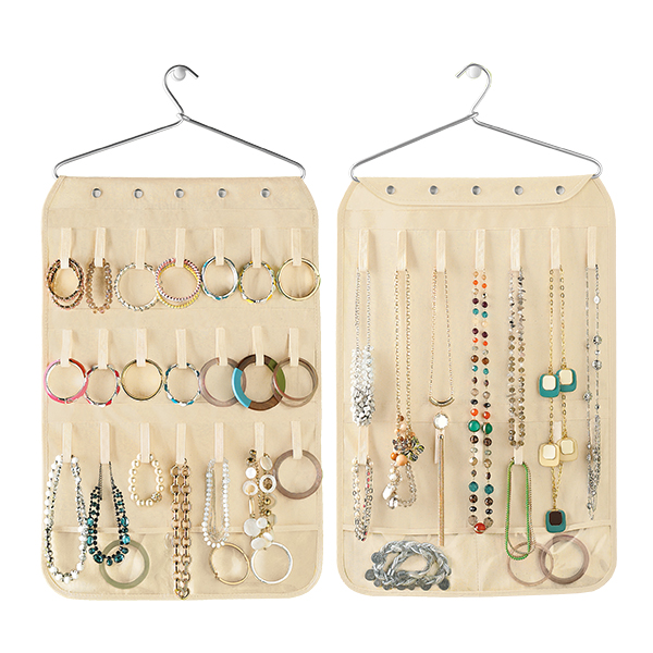 Canvas Necklace & Bracelet Organizer Natural
