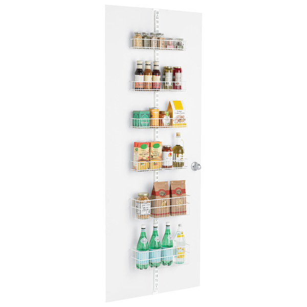 White elfa Pantry Door & Wall Rack Solution