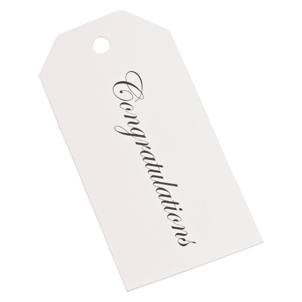 Congratulations Gift Tags White/Black Pkg/6