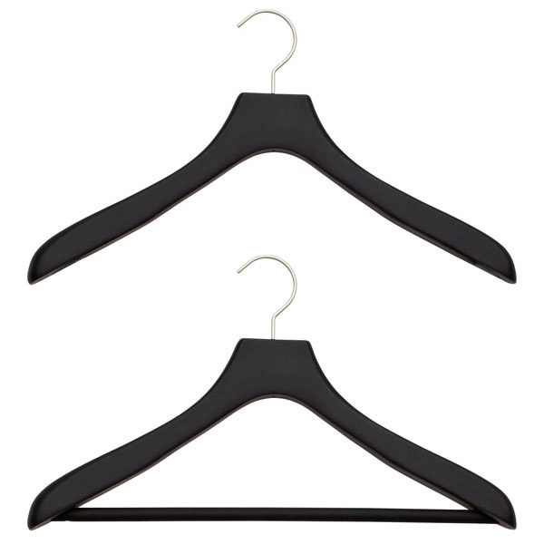 Superior Black Soft Matte Wooden Coat Suit Hangers