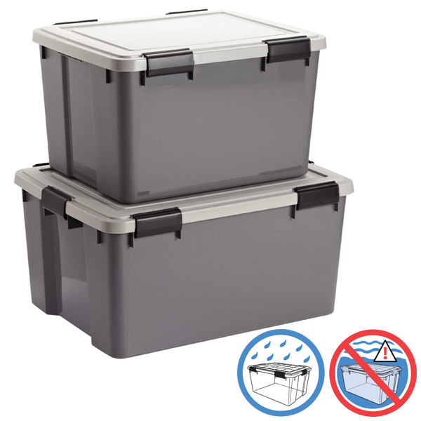 Grey Watertight Totes