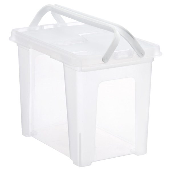 Wing-Lid Portable File Box Clear
