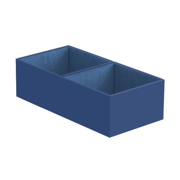 Narrow 2-Section Drawer Organizer Indigo