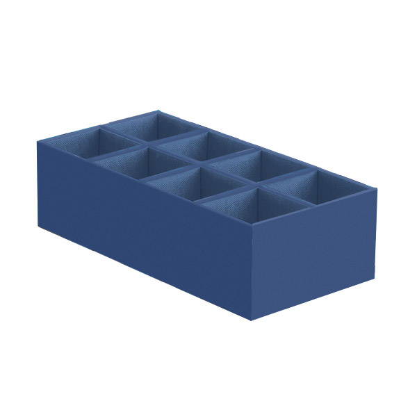 Narrow 8-Section Drawer Organizer Indigo