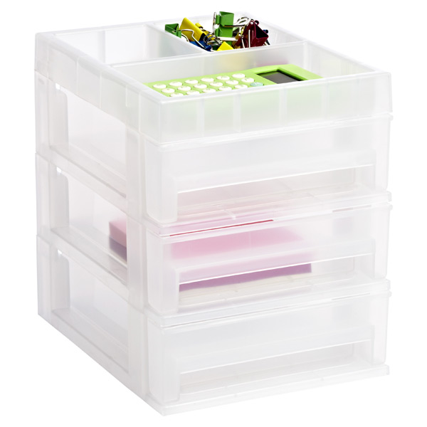 Mini 3-Drawer Desktop Organizer Clear