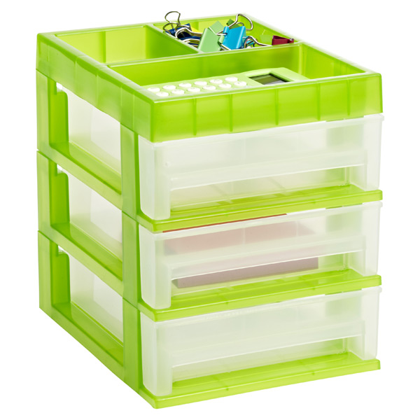 Mini 3-Drawer Desktop Organizer Clear/Lime