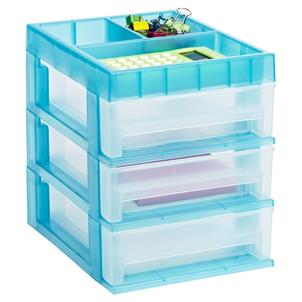 Mini 3-Drawer Desktop Organizer Clear/Turquoise