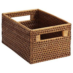 Small Rattan Bin w/ Handles Copper