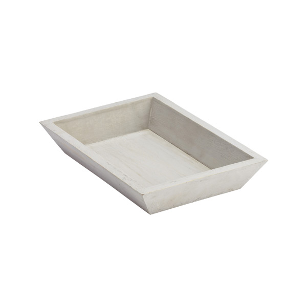 Small Whitewashed Wood Tapered Tray