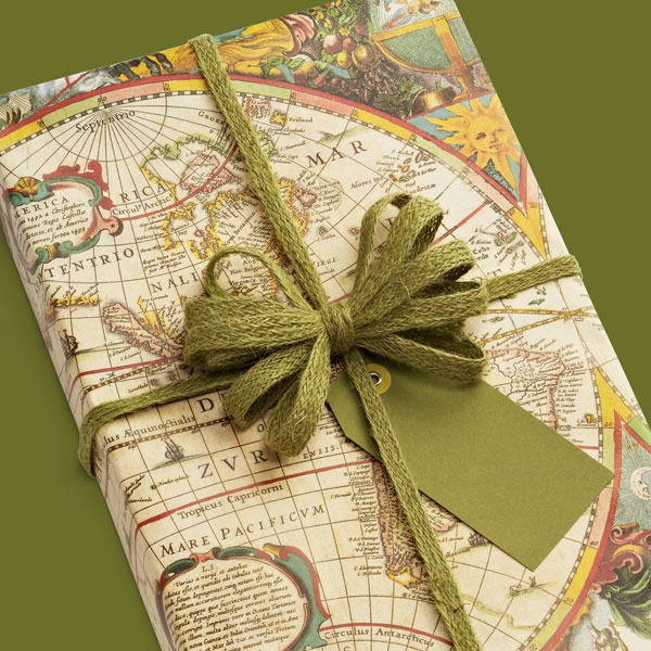 world map gift wrapping paper