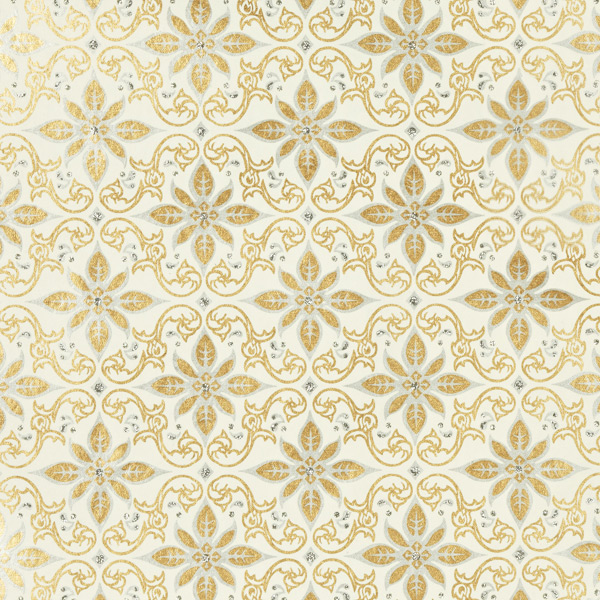 Recycled Glitter Wrap Sheets Scroll Gold/Silver on White Pkg/2