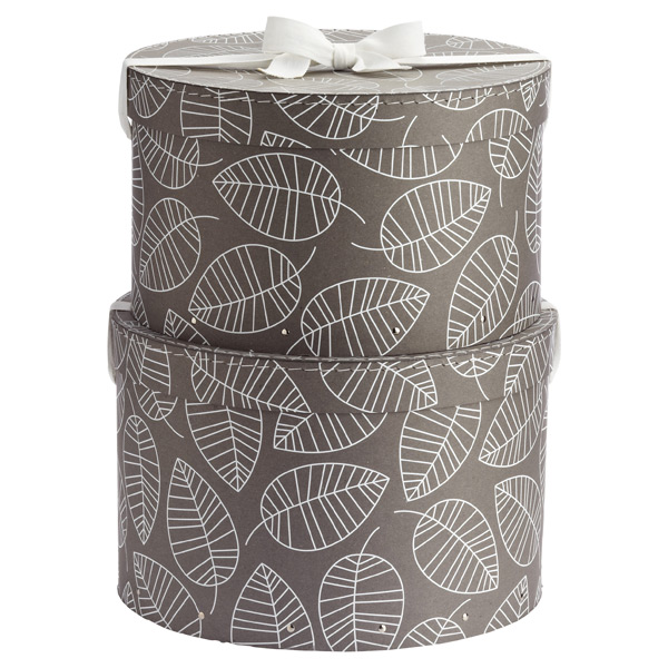 Bigso™ Hat Boxes Grey & White Leaves Set of 2