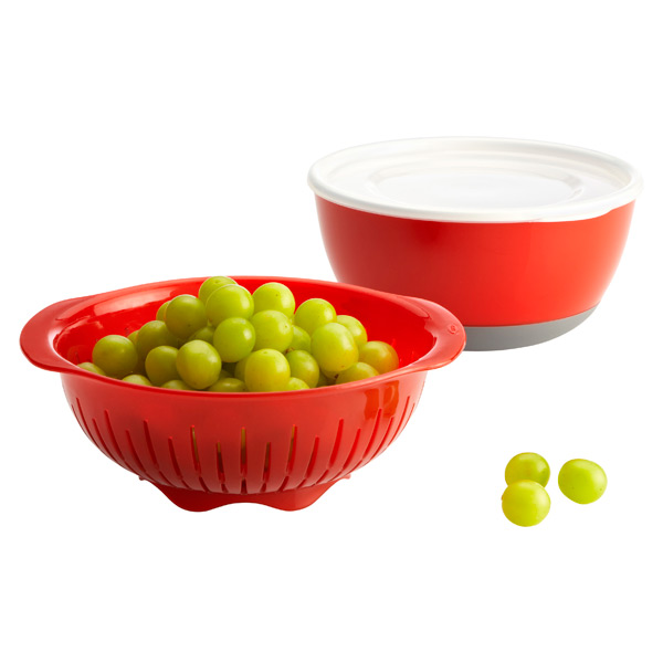 3-Piece Berry Bowl & Colander Set Red