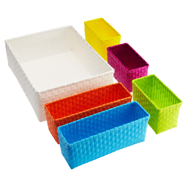 Color Block Bins White Set of 6