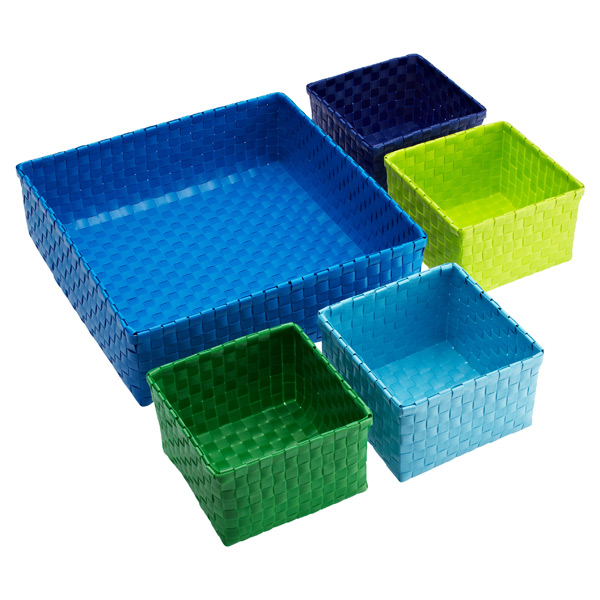 Color Block Bins Blue Set of 5