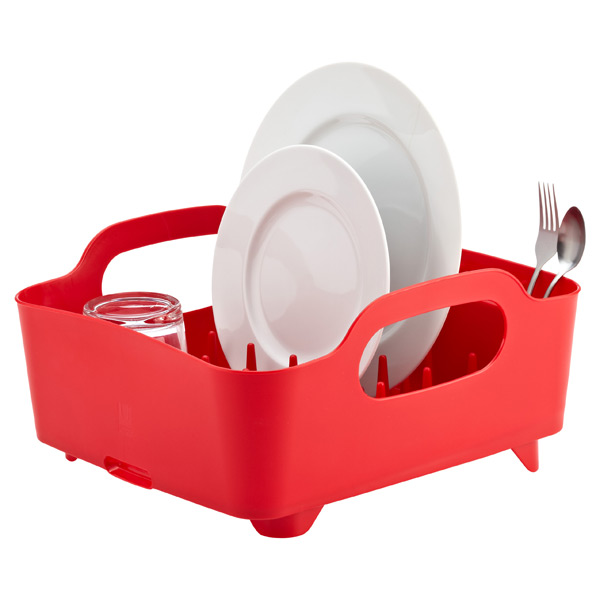 Umbra® Tub Dish Rack Red