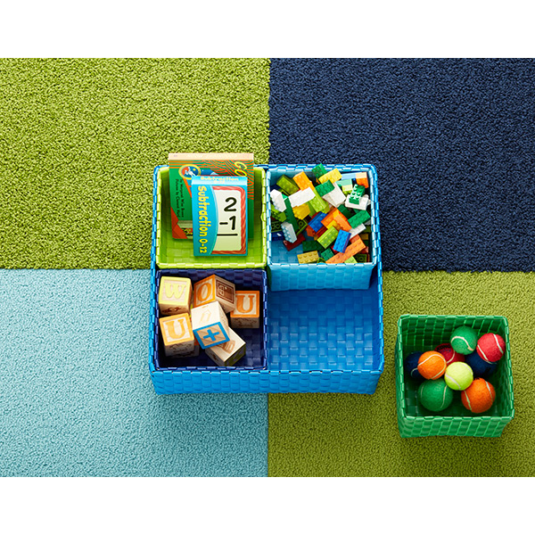 Blue Square Color Block Bins