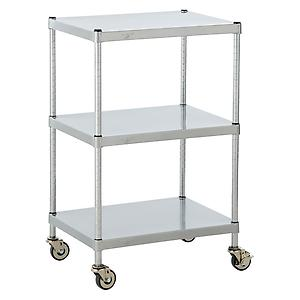 Solid Shelf Serving Cart Silver