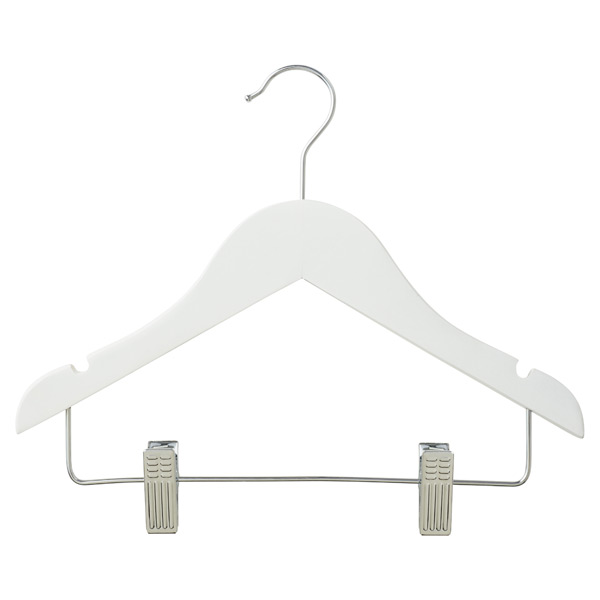 Children's Wood Hanger with Clips White Pkg/3