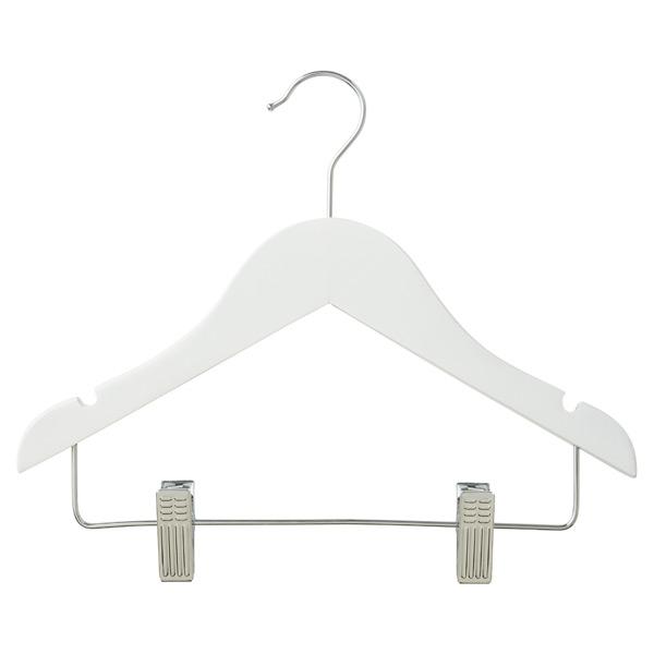 Children S Wood Hanger With Clips White Pkg 3