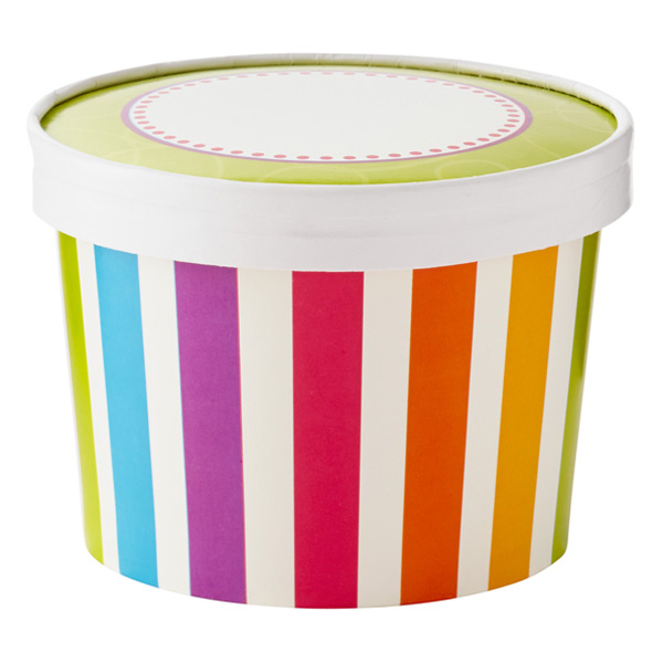 Ice Cream Pints Bright Stripes Pkg/6