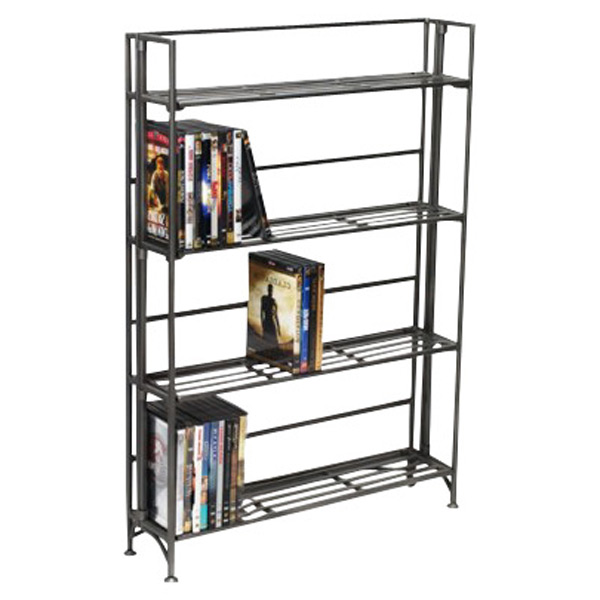 4-Shelf Iron Folding Media Rack Pewter