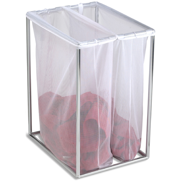 chrome double laundry bag stand | the container store