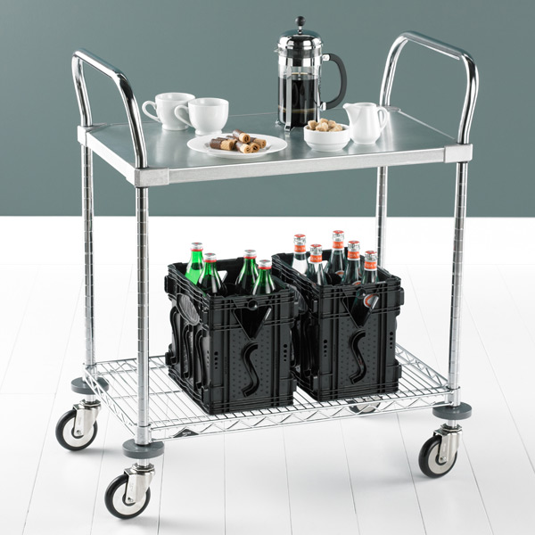 Metro® Commercial Solid Shelf Serving Cart Galvanized & Chrome