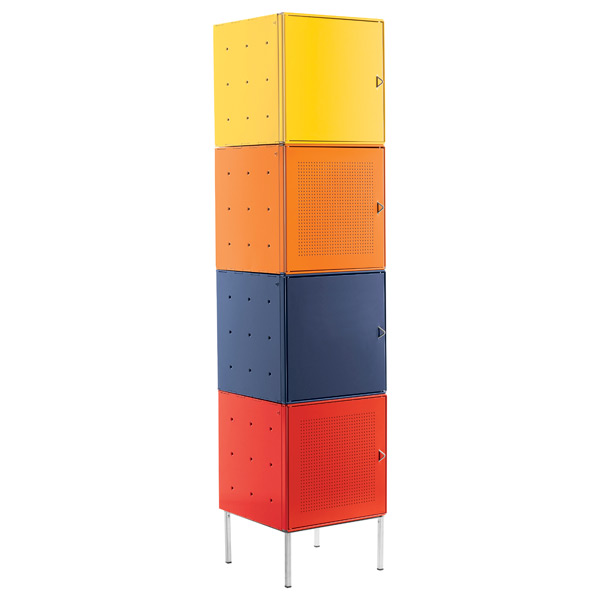 QBO® Steel Cube Tower with Base Enameled Multi-Color