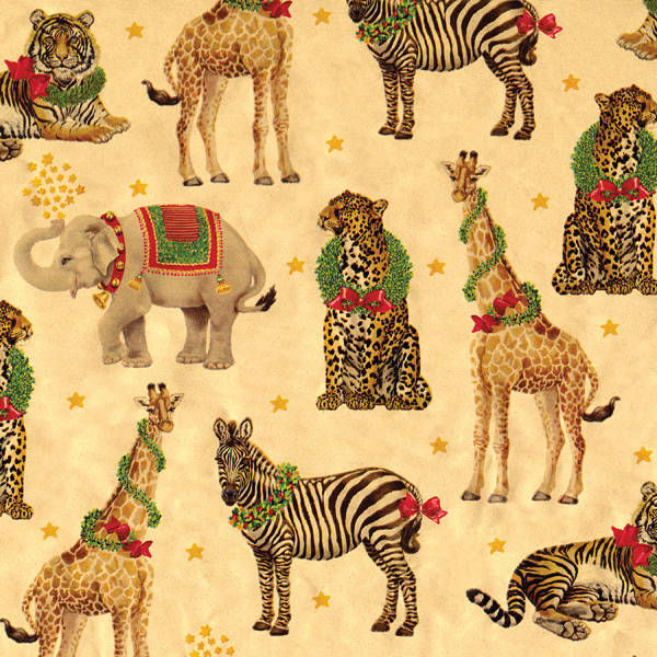 Wild Holiday Animals Foil Wrap Gold