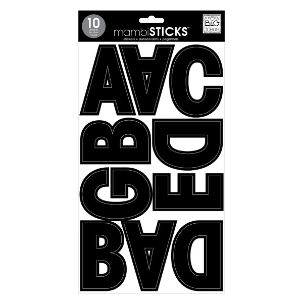 Jumbo Uppercase Alphabet Stickers Black Pkg/99