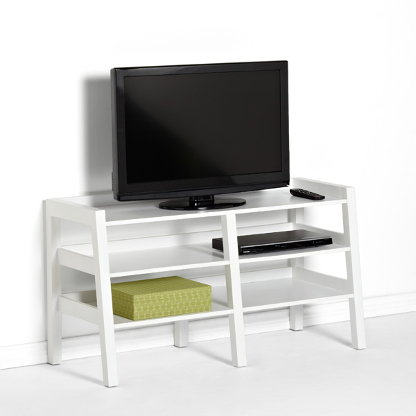 Linea Leaning Media Stand White