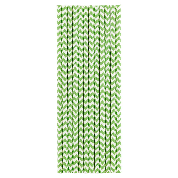 Paper Straws Chevron Green Pkg/25