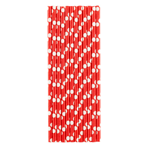 Paper Straws Dots Red/White Pkg/25