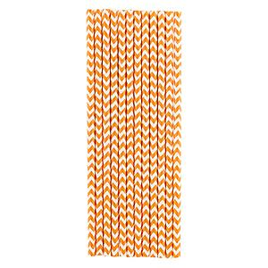 Paper Straws Chevron Orange Pkg/25