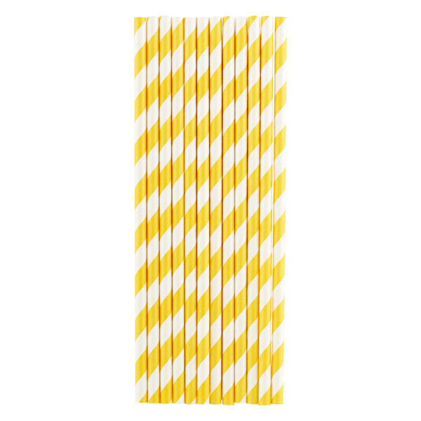 Paper Straws Stripe Yellow Pkg/25