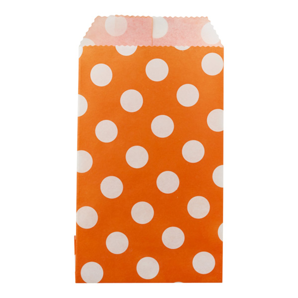 Large Dots Treat Sacks Orange Pkg/25